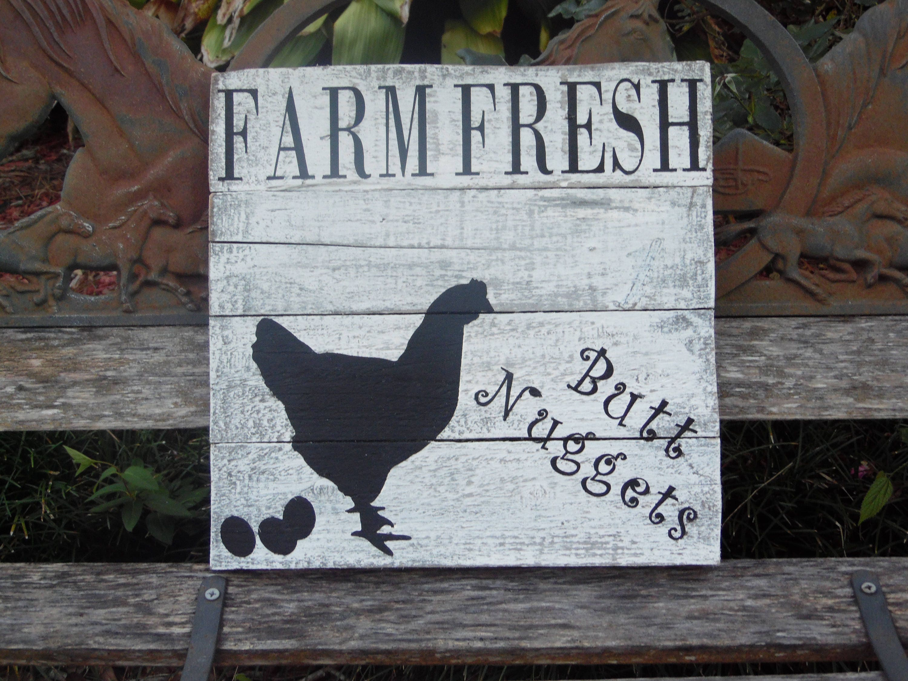 Farm Fresh Butt Nuggets Sign Chickens. Eggs. Distressed