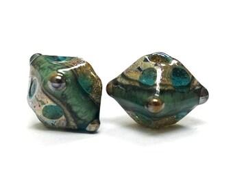 Glass Lampwork Bead Sets  - Five Ocean Blue w/Silver Foil Bicone Beads  -10406707