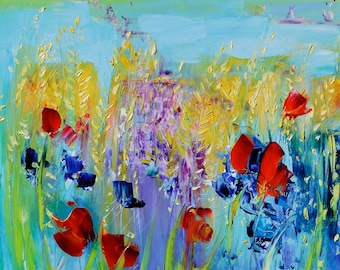 Floral oil painting, Abstract art, Impressionist art, Original oil painting, Poppies