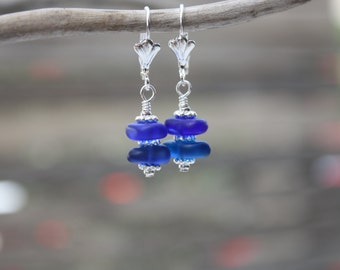 Cobalt Blue Sea Glass Earrings, Seaglass Earrings Beach Glass Earrings Sea Glass Jewelry Seaglass Jewelry Ocean Jewelry Hawaiian Jewelry 073