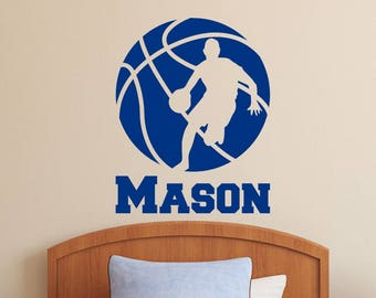 Basketball Player with Personalized Name - Custom Vinyl Decal Stickers for Bedrooms