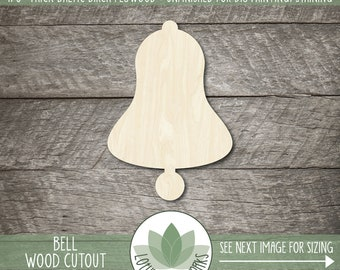 Bell Wood Shape, Wooden Bell Cutout, Blank Wood Shape, Unfinished Wood For DIY Projects, Many Sizes, Wood Sign Shapes, Blank Wood Shapes