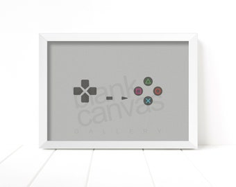 Game Pad Controller - Playstation 1 - Wall Art, Poster, Printable - Instant Digital Download