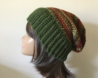 Green and Brown Striped Slouchy Hat,  Olive Green ladies Crochet Hat, Slouch Beanie,  Woman 's, Teen or adult Modern slouchy, Trendy Beanie