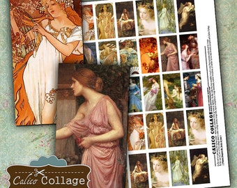 Art Collage Sheet 1x2 Domino Images Classical Oil Painting Images for Domino Pendants Decoupage Paper Calico Collage Art Vintage Printables