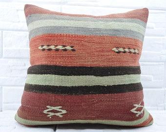 "24""x24"" decorative kilim pillow  anatolian kilim pillow soft pillow ethnic pillow sofa pillow cushion cover pillow cover No 274"