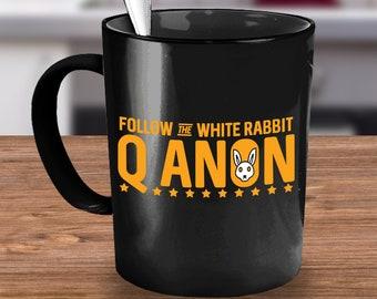 QAnon Coffee Mug 15oz Black Ceramic Cup - Follow The White Rabbit - Gift Idea For Qanon Followers