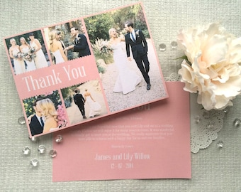 Grace Wedding Thank You Cards A6 | Personalised Thank You Card | Photo Thank You | Multiple Photo Thank You | Wedding Thank You Note Card