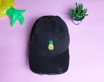 Pineapple Emoji Dad Hat | Pineapple Distressed Dad Hat, Pineapple Cap, Pineapple Baseball Hat, Pineapple Lover Hats Gift for Pineapple Lover