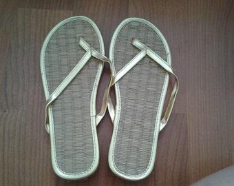 Gold Metallic Bamboo Flip Flops