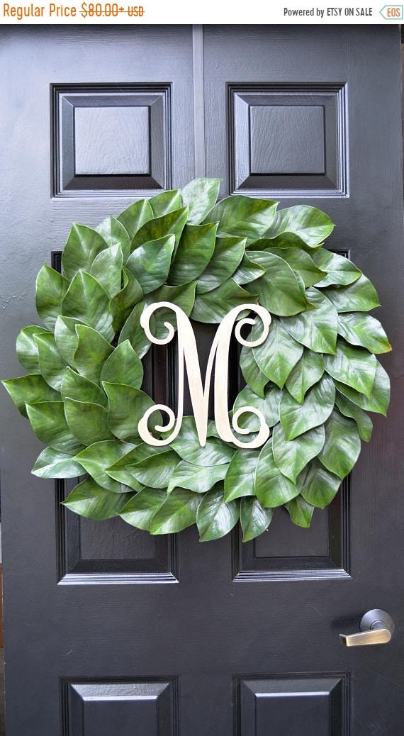 SUMMER WREATH SALE Weatherproof Monogramed Magnolia Wreath, Magnolia Leaves Door Wreath, Fixer Upper Southern Decor Year Round Wreath Southe