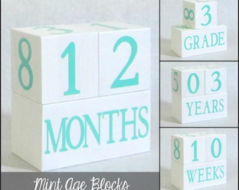 Baby Age Blocks - Photo Prop - Mint