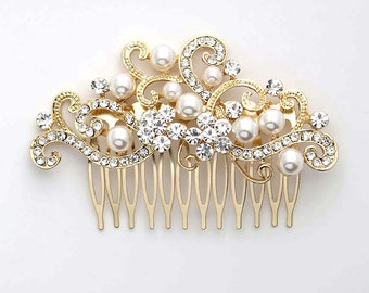 Gold Bridal Hair Comb Rhinestone Vintage Wedding Hair Accessory Crystal Pearl Haipiece Prom Gatsby Old Hollywood Hair Jewelry
