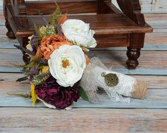 Fall Wedding Bouquet-Autumn Wedding Bouquet-Rustic-Romantic Bridal Bouquet Vibrant Fall Bouquet!