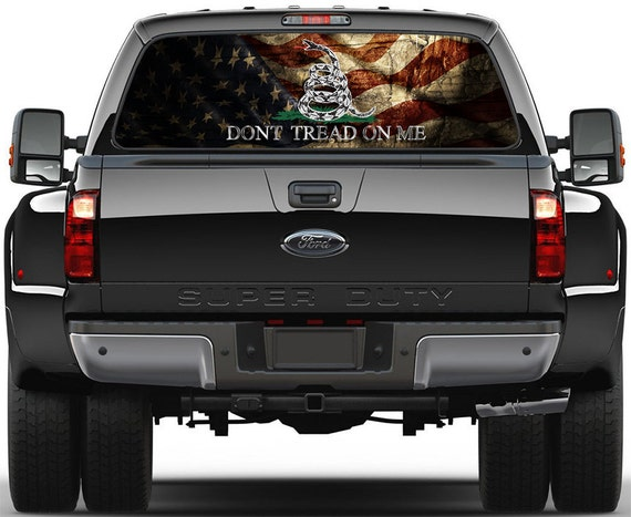 Gadsden USA Old Flag Dont Tread On Me Rear Window Graphic - Chevy truck stickers for back window
