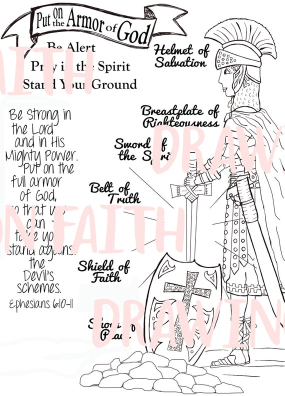 Nerdy image throughout armor of god printable coloring page