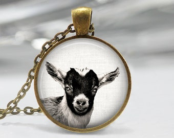 Goat Pendant, Baby Goat Necklace, Goat Art Jewelry, Baby Goat Art Pendant, Farm Animal Jewelry, Goat Art Pendant, Bronze, Silver, 052