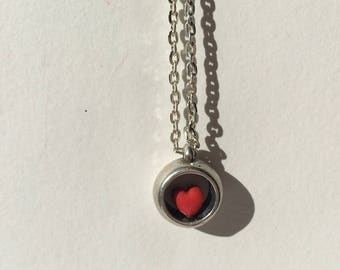 Heart polymer clay and silver ball necklace