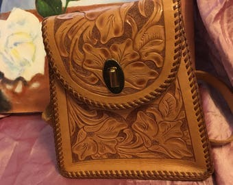 Gorgeous mid-century hand-tooled leather handbag!