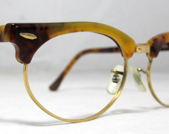 Vintage RayBan Clubmaster Browline Frames. Tortoise Brown
