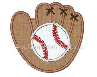 Baseball and Glove Mitt Applique Machine Embroidery Design Boy Sport INSTANT DOWNLOAD