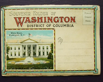 Souvenir Folder of Washington District of Columbia Foldout Postcards