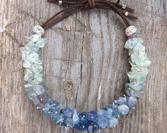 Raw fluorite necklace Bib necklaces Gemstone necklace Pisces birthstone Ombre necklace Chunky necklace Protection necklace Women's Gift idea