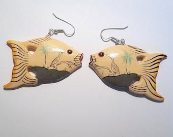 Vintage Colorful Tropical Fish Wood Earrings