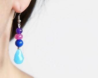 Multicolor Statement Earrings,Beaded Dangle Earrings,Blue Pink Purple Sky Blue,Drops Earrings