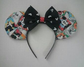 Comic Mickey Ears w Bow
