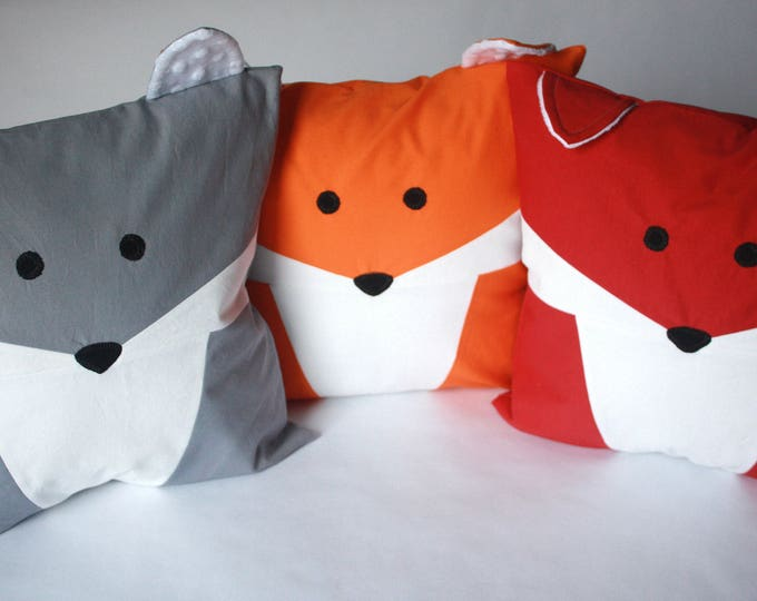 Fox Patchwork Pillow, Fox Pillow, Fox Baby Pillow-MTO