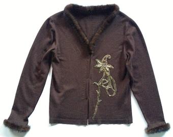 Upscaled Vintage Fur Trimmed Embellished Brown Wool Cardigan