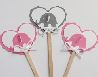 Baby Elephant Cupcake Toppers, Girl Baby Shower, Girl Party, Party Decorations