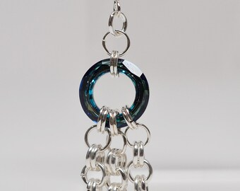 Sterling silver plated & swarovski crystal chainmaille earrings