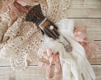 Shabby Vintage Lady Ruffled Gloves and Hand Clip Assemblage Art