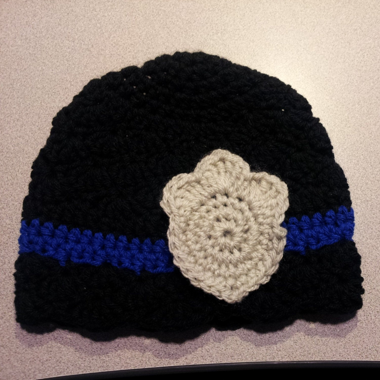 Pattern Crochet Thin Blue Line hat baby girl hat baby boy hat