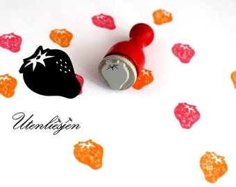 Stamp mini strawberry, rubber stamp Ø 12 mm