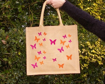 Orange & Pink Raspberry Butterfly hand painted jute shopping bag- Large. Burlap/ hessian tote bag, shopping tote bag. Mother's Day Gift idea