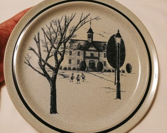 Noritake Stoneware 10 inch dinner plate 8340 Colonial Times school house