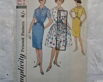 """Great late 1950s full skirted / wiggle dress pattern bust 36"""""""