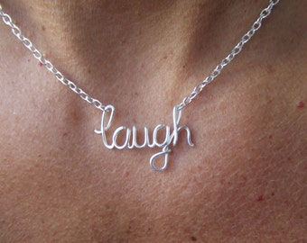 Laugh Necklace or Custom Name Wire Wrapped Necklace Wire Word Jewelry Personalized Necklace Wire Wrap Jewelry Gifts under 20