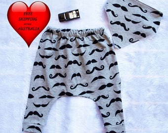 Baby boys pants, Baby boys harem pants, boys pants, moustache print,baby boys pants 00, baby pants  size 6 months,Boys pants size 1and 2