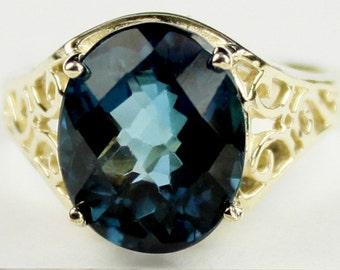 London Blue Topaz, 10KY Gold Ring, R057