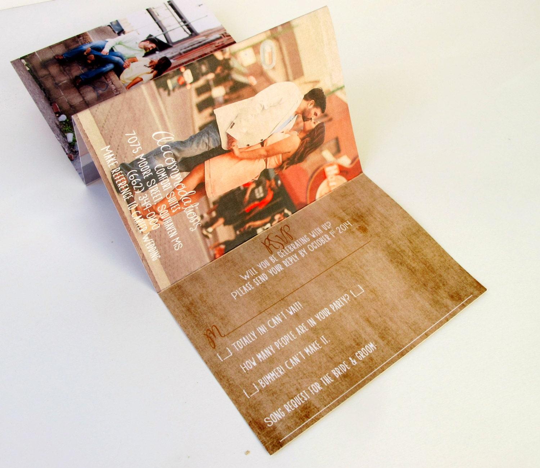 Unique Rustic Wedding Invitations Accordion fold invites