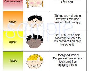 Emotions Feelings Chart Special Needs Autism Speech Delay Behavior
