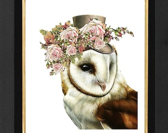 White Owl Print Pink Roses,Steampunk Print, Owl Humor Paintings, size 8x10 Pink Roses Steampunk Humor Art Print, White Matte Print