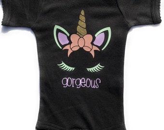 Baby Girl Gorgeous Unicorn Bodysuit- Great Babyshower gift for a baby girl