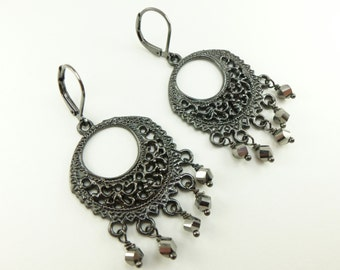 Dark Gray Chandelier Earrings Gunmetal Dark Silver Monochromatic Earrings Beaded Chandelier Earrings