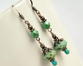 boho drop earrings, dangle earrings, bohemian jewelry, gift for her, under 20