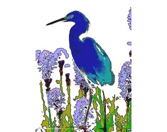 Blue Heron Art, Abstract Realism Bird, Digital Painting, Woodland Animal, Cobalt Blue, Cabin Home Decor, Wall Hanging, Giclee Print, 8 x 10